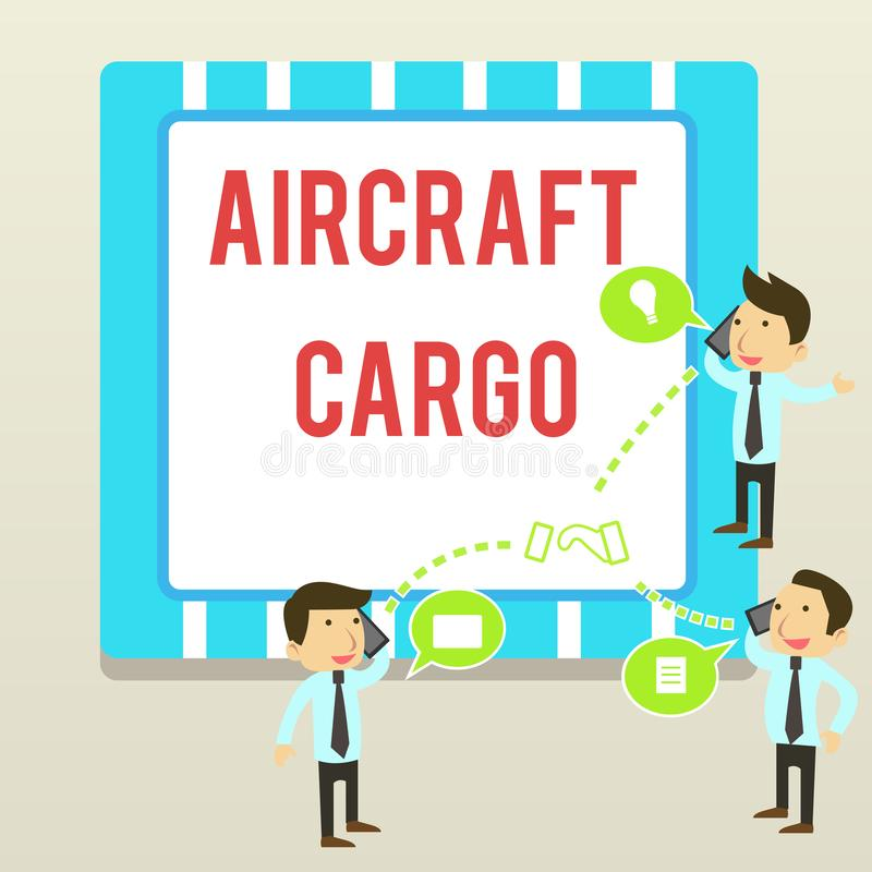 Word writing text Aircraft Cargo. Business concept for Freight Carrier Airmail Transport goods through airplane. Word writing text Aircraft Cargo. Business photo stock illustration