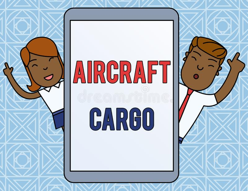 Word writing text Aircraft Cargo. Business concept for Freight Carrier Airmail Transport goods through airplane Male and. Word writing text Aircraft Cargo vector illustration