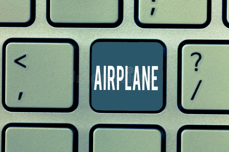 Word writing text Airplane. Business concept for Aircraft Vehicle designed for travel aerial transportation stock photo