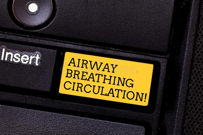 Word writing text Airway Breathing Circulation. Business concept for Memory aid for rescuers performing CPR Keyboard key. Intention to create computer message royalty free stock images