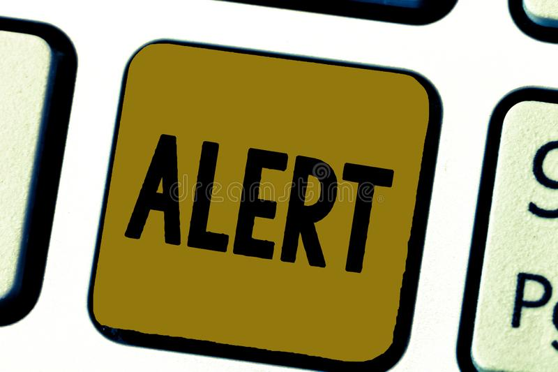Word writing text Alert. Business concept for An announcement Signal warning of danger The state of being vigilant.  stock photo