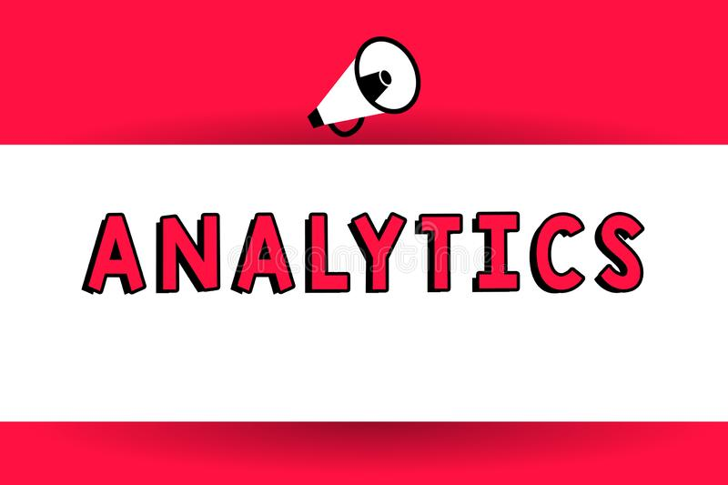 Word writing text Analytics. Business concept for systematic computational analysis of data statistics or infos Megaphone Making. Voice louder Handheld Amplify vector illustration