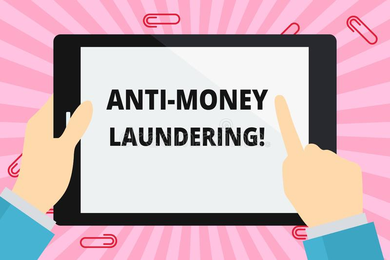 Word writing text Anti Money Laundering. Business concept for regulations stop generating income through illegal actions. Word writing text Anti Money Laundering stock illustration