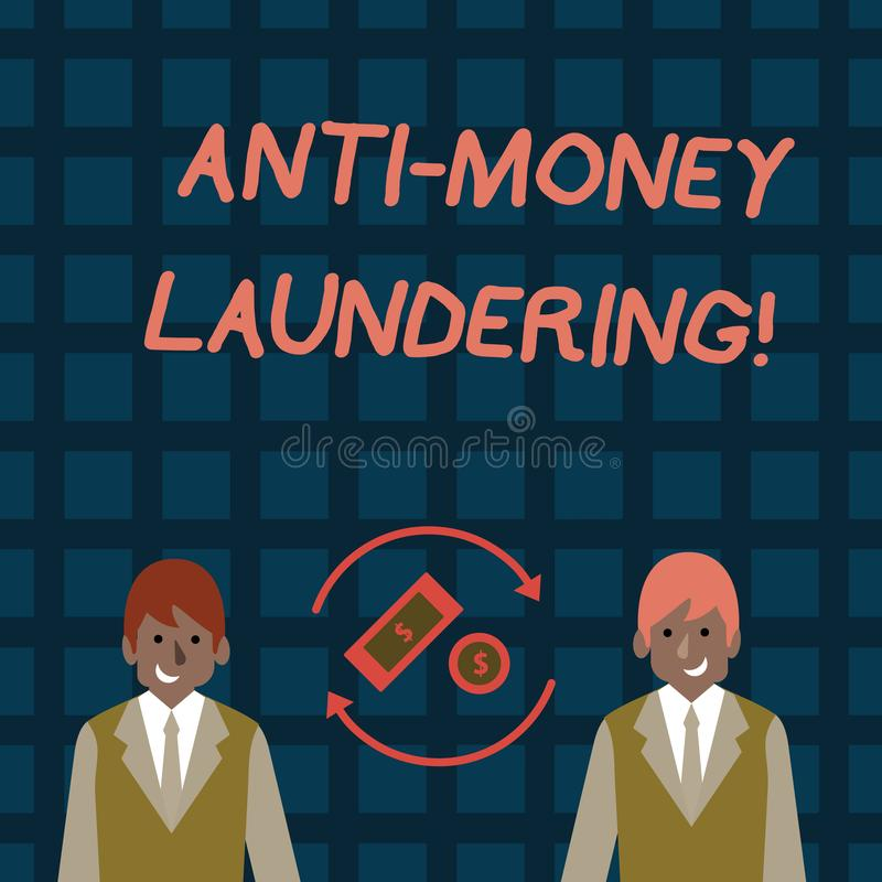 Word writing text Anti Money Laundering. Business concept for regulations stop generating income through illegal actions. Word writing text Anti Money Laundering vector illustration