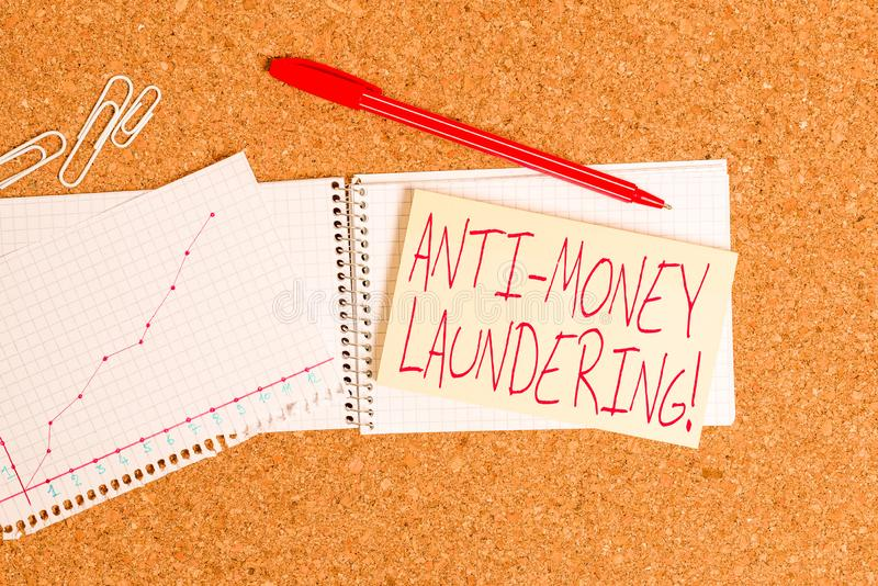 Word writing text Anti Money Laundering. Business concept for regulations stop generating income through illegal actions. Word writing text Anti Money Laundering stock image