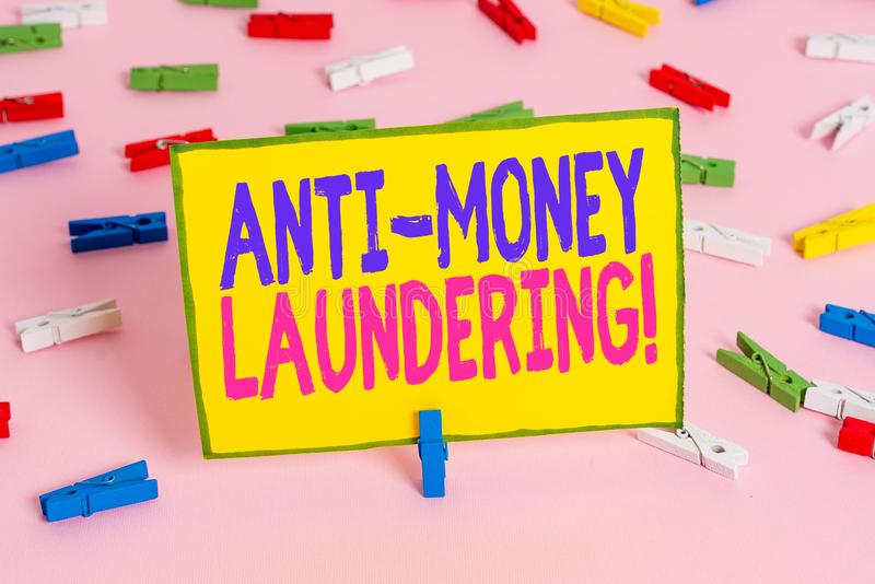 Word writing text Anti Money Laundering. Business concept for regulations stop generating income through illegal actions. Word writing text Anti Money Laundering stock photo