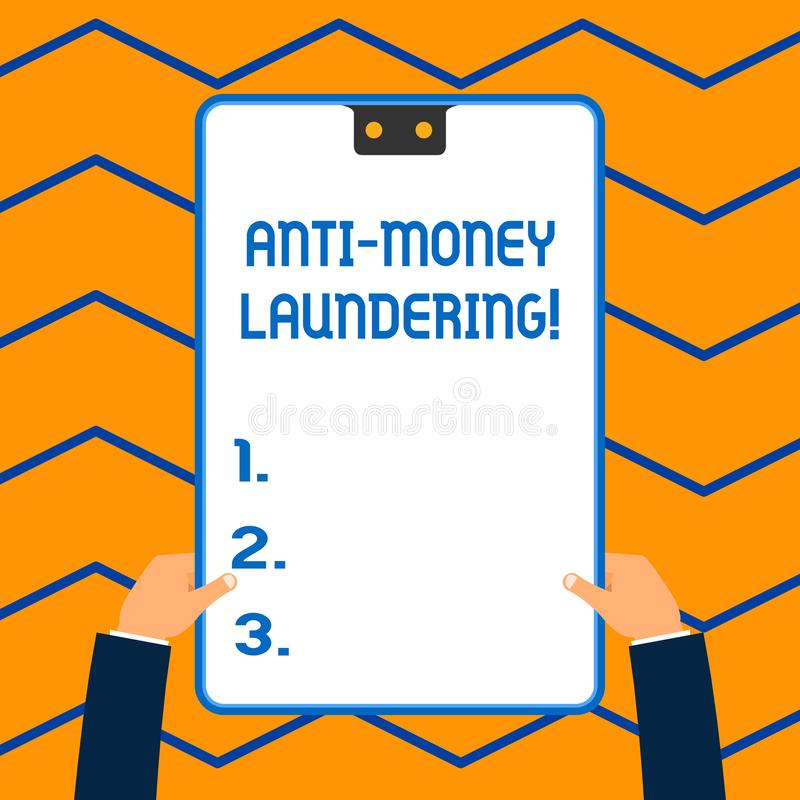 Word writing text Anti Money Laundering. Business concept for regulations stop generating income through illegal actions. Word writing text Anti Money Laundering royalty free illustration