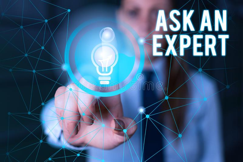Word writing text Ask An Expert. Business concept for consult someone who has skill about something or knowledgeable. Word writing text Ask An Expert. Business royalty free stock photos