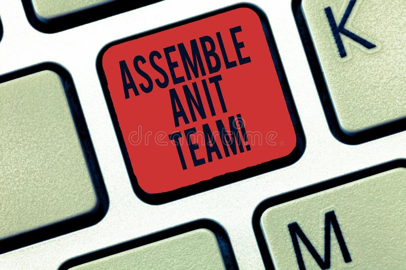 Word writing text Assemble An It Team. Business concept for Create information technology group of experts Keyboard key stock photography