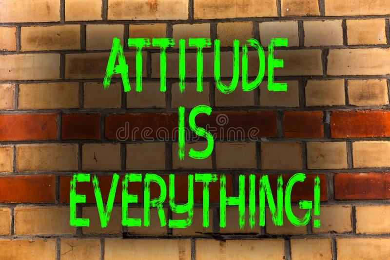 Word writing text Attitude Is Everything. Business concept for Personal Outlook Perspective Orientation Behavior Brick. Word writing text Attitude Is Everything royalty free stock photo