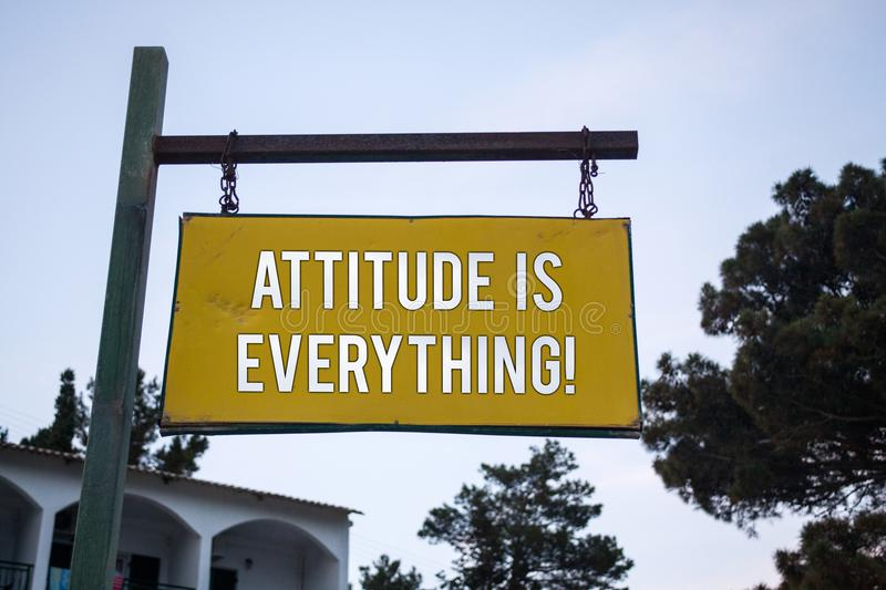 Word writing text Attitude Is Everything. Business concept for Personal Outlook Perspective Orientation Behavior Wooden board hang. Hanging post ideas messages stock photos