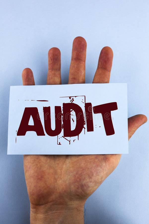 Word writing text Audit. Business concept for Local company auditors perform their financial investigation annually written on Sti. Word writing text Audit royalty free stock images
