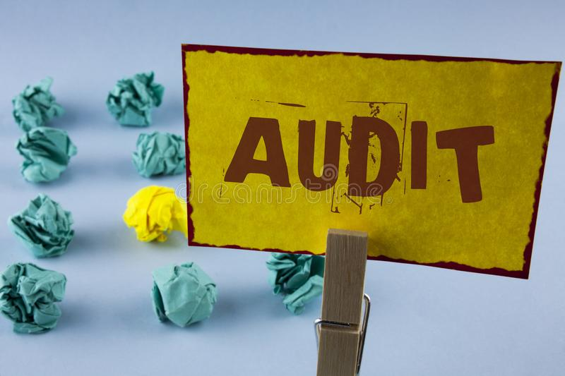 Word writing text Audit. Business concept for Local company auditors perform their financial investigation annually written on Yel. Word writing text Audit stock image