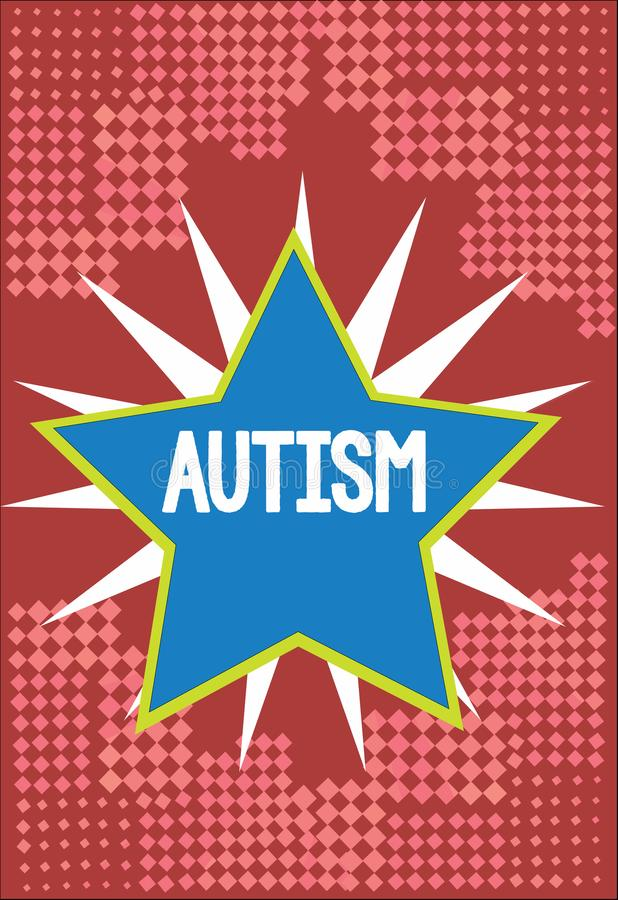 Word writing text Autism. Business concept for Difficulty in interacting and forming affairs with other showing.  vector illustration