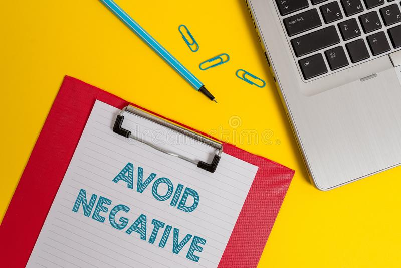 Word writing text Avoid Negative. Business concept for Staying away from pessimistic showing Suspicious Depression Open. Word writing text Avoid Negative royalty free stock photography