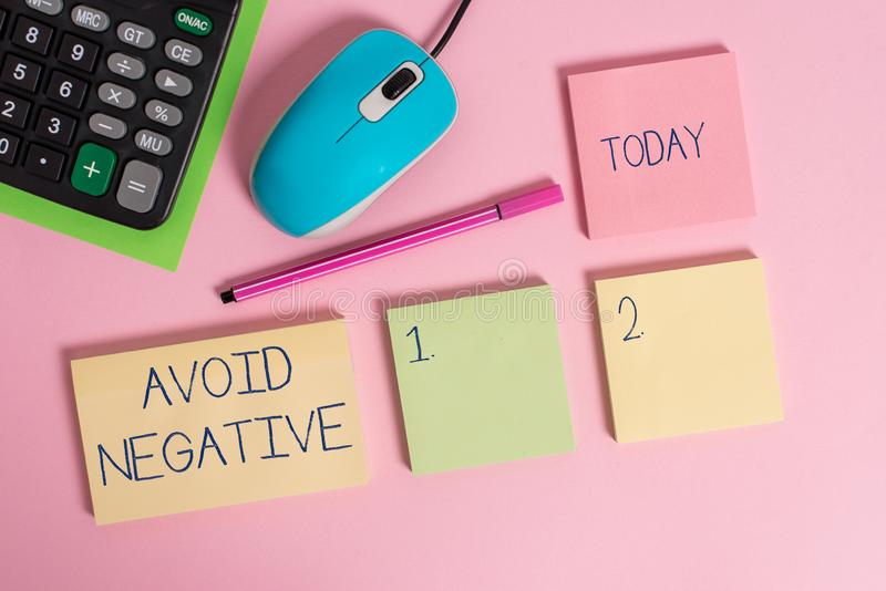 Word writing text Avoid Negative. Business concept for Staying away from pessimistic showing Suspicious Depression Blank. Word writing text Avoid Negative royalty free stock photos