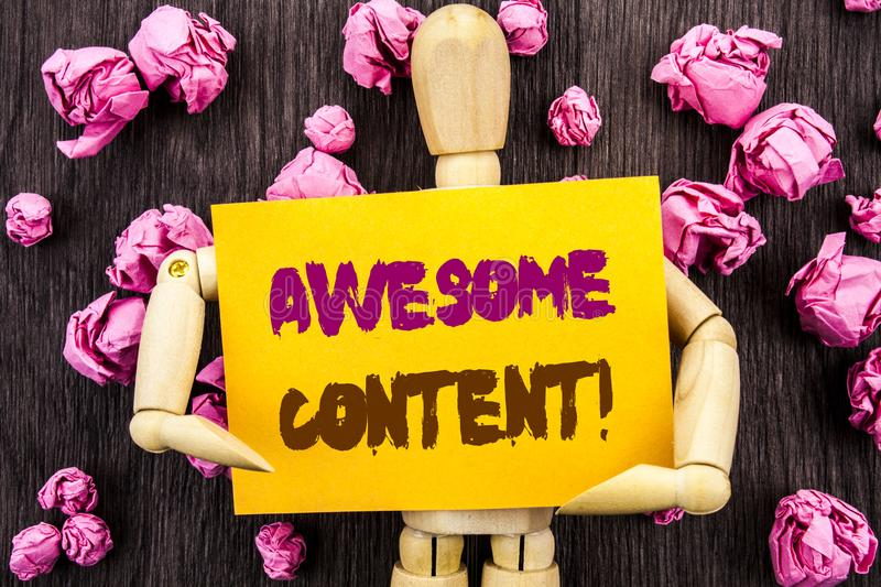 Word, writing, text Awesome Content. Conceptual photo Creative Strategy Education Website Concept written on Sticky Note Holding royalty free stock image