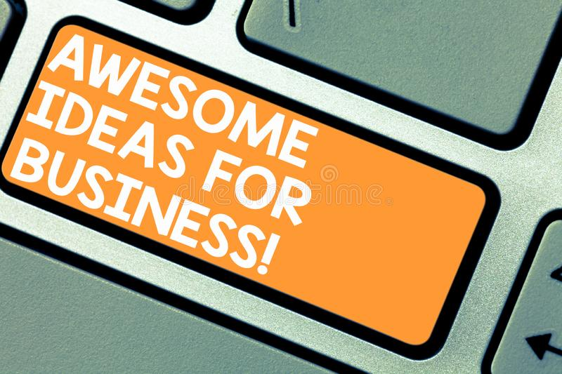 Word writing text Awesome Ideas For Business. Business concept for Great amazing strategies for growing up Keyboard key royalty free stock photo