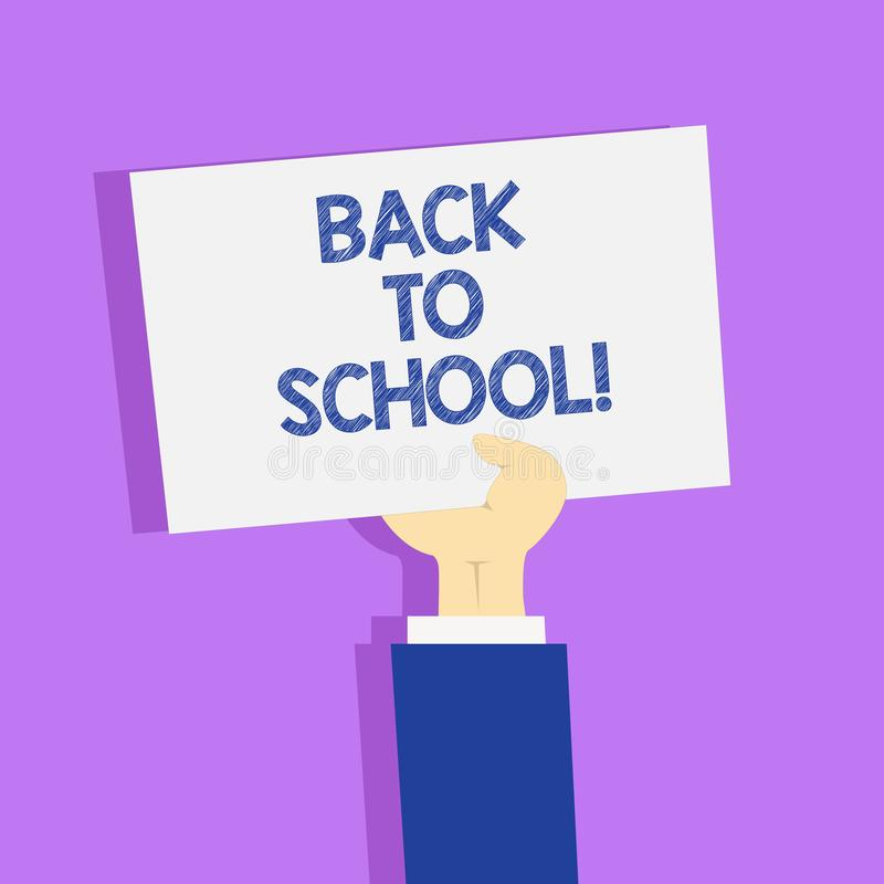 Word writing text Back To School. Business concept for New Teachers Friends Books Uniforms Promotion Tuition Fee. Word writing text Back To School. Business vector illustration