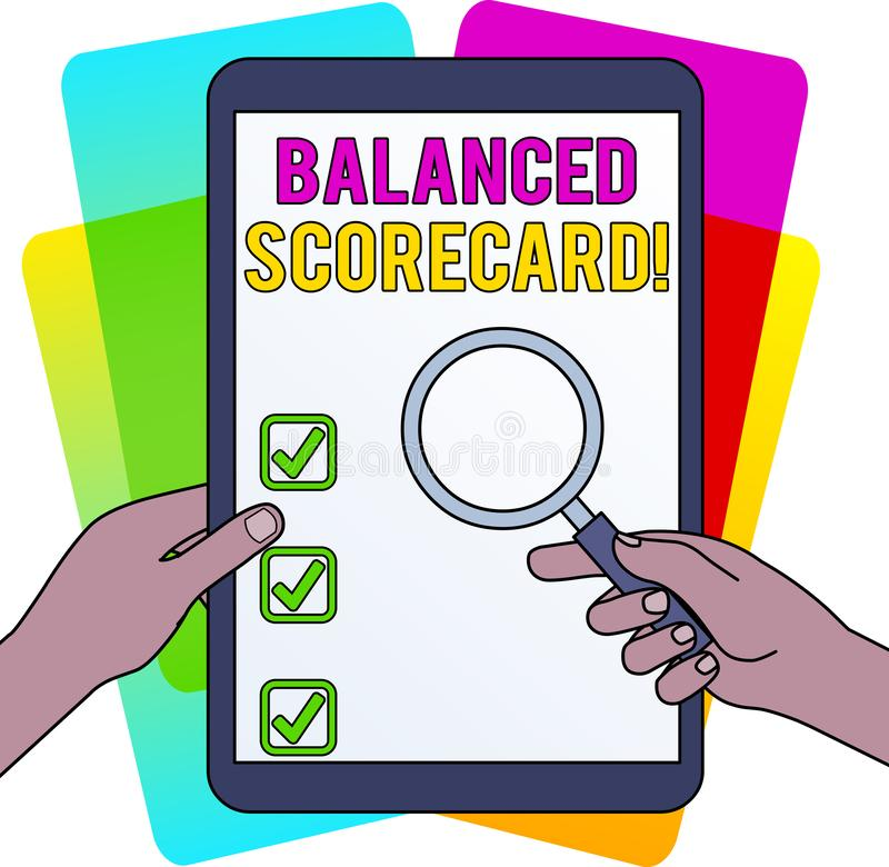 Word writing text Balanced Scorecard. Business concept for a perforanalysisce metric used in strategic analysisagement. Word writing text Balanced Scorecard stock illustration