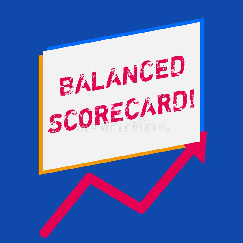 Word writing text Balanced Scorecard. Business concept for a perforanalysisce metric used in strategic analysisagement. Word writing text Balanced Scorecard vector illustration