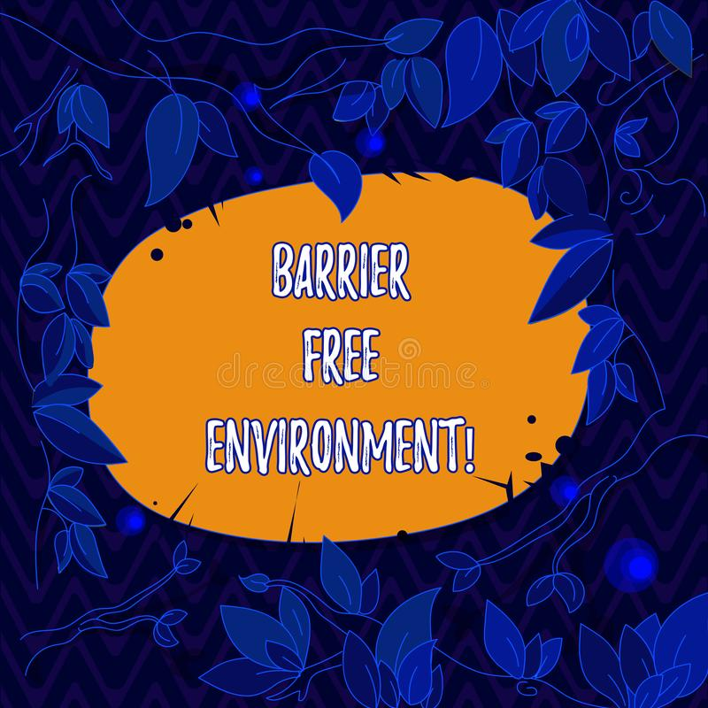 Word writing text Barrier Free Environment. Business concept for free of potential obstacles to individuals Tree Branches. Scattered with Leaves Surrounding stock illustration