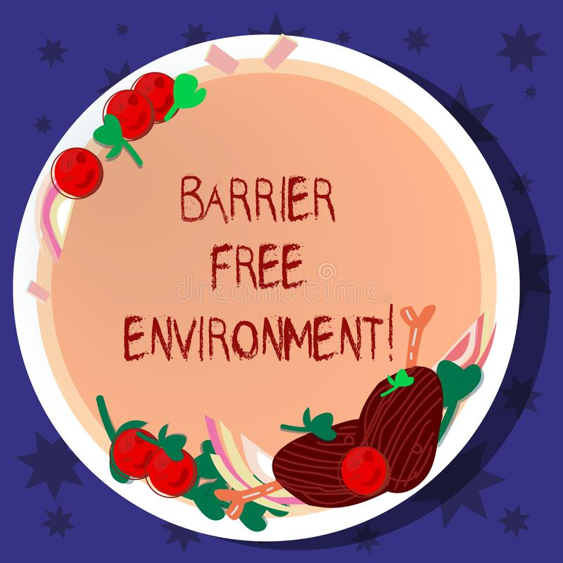 Word writing text Barrier Free Environment. Business concept for free of potential obstacles to individuals Hand Drawn Lamb Chops. Herb Spice Cherry Tomatoes on royalty free illustration