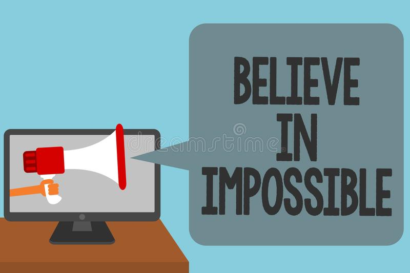 Word writing text Believe In Impossible. Business concept for You can do it everything is possible Work hard Alarming convey scrip. T announcement message stock photo