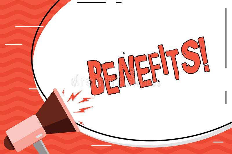 Word writing text Benefits. Business concept for Advantage Insurance Compensation Interest Revenue Gain Aid. Word writing text Benefits. Business photo vector illustration
