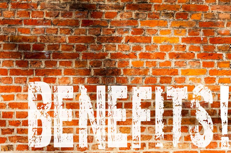 Word writing text Benefits. Business concept for Hike in allowance and salary for senior employees of the company Brick Wall art. Like Graffiti motivational stock photo