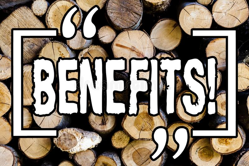 Word writing text Benefits. Business concept for Hike in allowance and salary for senior employees of the company Wooden. Background vintage wood wild message royalty free stock images