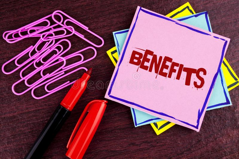 Word writing text Benefits. Business concept for hike in allowance for senior employees of the company written on Pink Sticky Note. Word writing text Benefits stock images