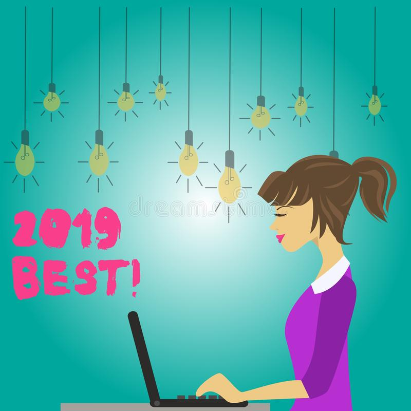 Word writing text 2019 Best. Business concept for that which most excellent outstanding or desirable this year photo of. Word writing text 2019 Best. Business royalty free illustration