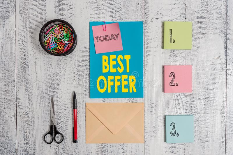 Word writing text Best Offer. Business concept for To convince someone by rendering all the greatness you can give. Word writing text Best Offer. Business photo royalty free stock photography