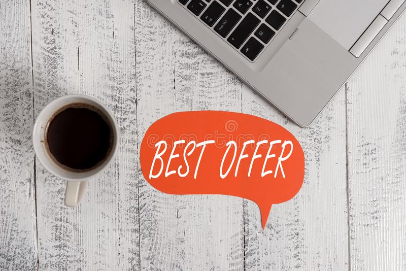 Word writing text Best Offer. Business concept for To convince someone by rendering all the greatness you can give. Word writing text Best Offer. Business photo stock photos
