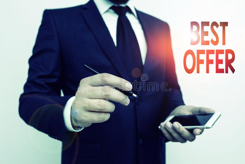 Word writing text Best Offer. Business concept for To convince someone by rendering all the greatness you can give. stock image