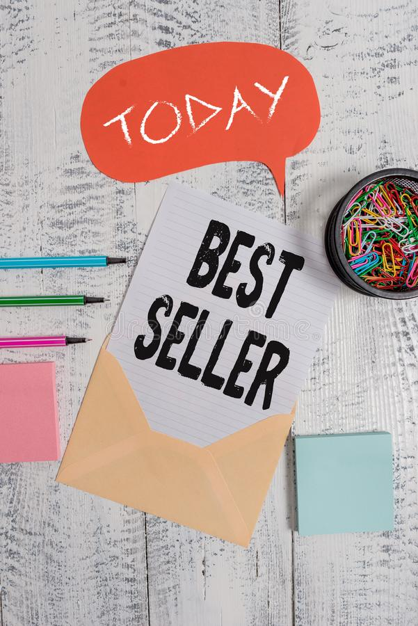 Word writing text Best Seller. Business concept for one feature or the perceived benefit good which makes it unique. Word writing text Best Seller. Business stock photos