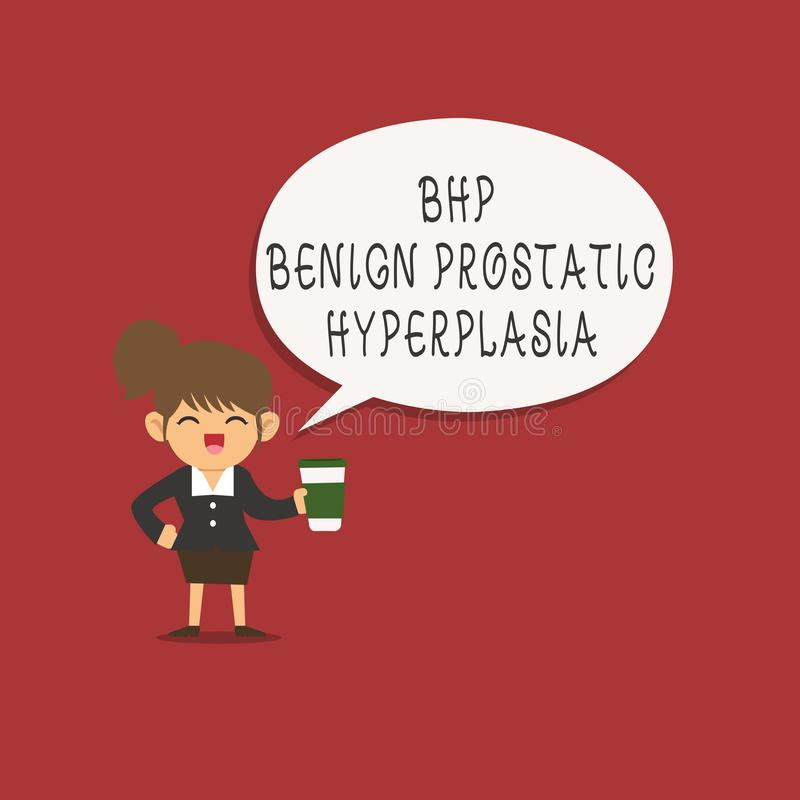 Word writing text Bhp Benign Prostatic Hyperplasia. Business concept for Noncancerous prostate gland enlargement.  vector illustration
