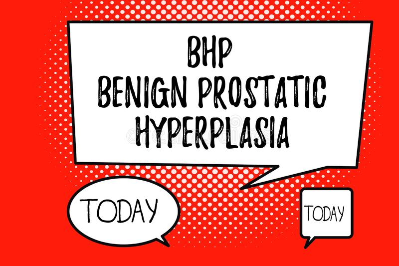 Word writing text Bhp Benign Prostatic Hyperplasia. Business concept for Noncancerous prostate gland enlargement.  royalty free illustration