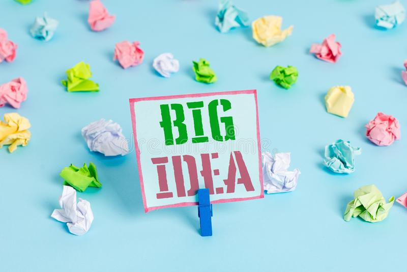 Word writing text Big Idea. Business concept for Having great creative innovation solution or way of thinking Colored. Word writing text Big Idea. Business photo royalty free stock image