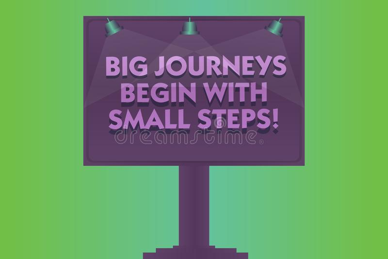 Word writing text Big Journeys Begin With Small Steps. Business concept for One step at a time to reach your goals Blank Lamp. Lighted Color Signage Outdoor Ads stock illustration