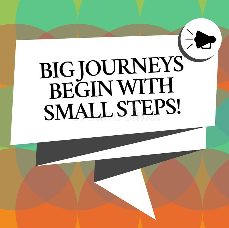 Word writing text Big Journeys Begin With Small Steps. Business concept for One step at a time to reach your goals. Folded 3D Ribbon Sash Megaphone Speech stock illustration