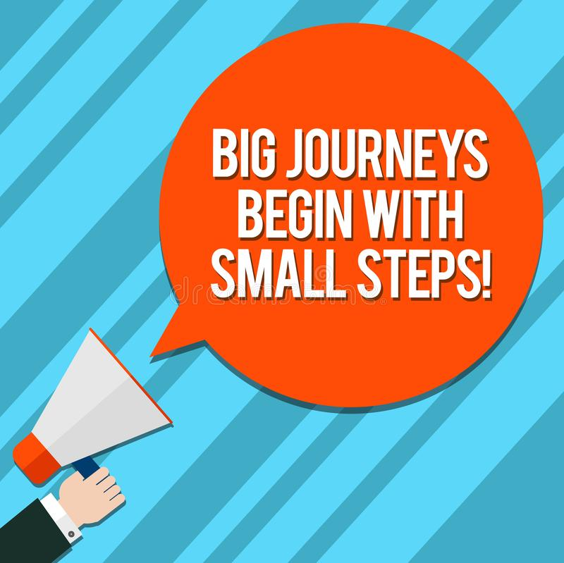 Word writing text Big Journeys Begin With Small Steps. Business concept for One step at a time to reach your goals Hu. Analysis Hand Holding Megaphone Blank stock illustration