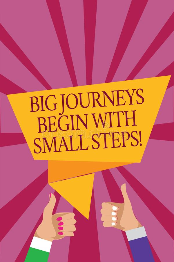 Word writing text Big Journeys Begin With Small Steps. Business concept for One step at a time to reach your goals Man woman hands. Thumbs up approval speech royalty free illustration