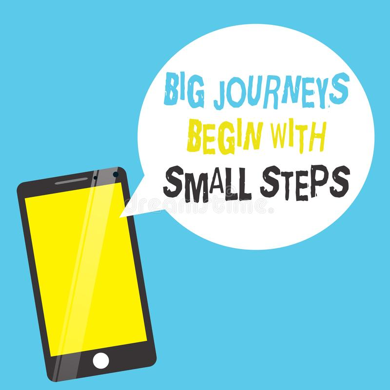 Word writing text Big Journeys Begin With Small Steps. Business concept for Start up a new business venture.  stock illustration