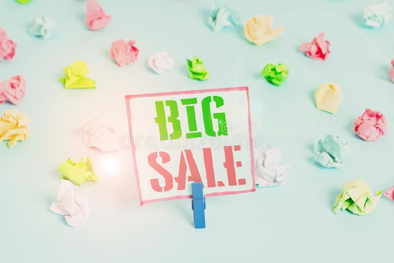 Word writing text Big Sale. Business concept for putting products on high discount Great price Black Friday Colored. Word writing text Big Sale. Business photo stock image