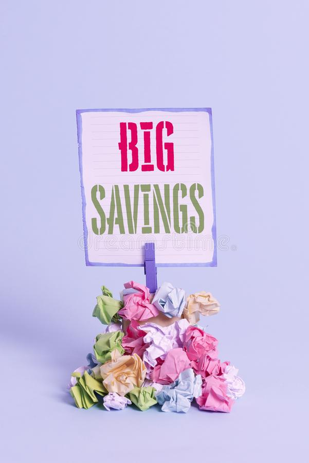 Word writing text Big Savings. Business concept for income not spent or deferred consumption putting money aside. Word writing text Big Savings. Business photo stock photography