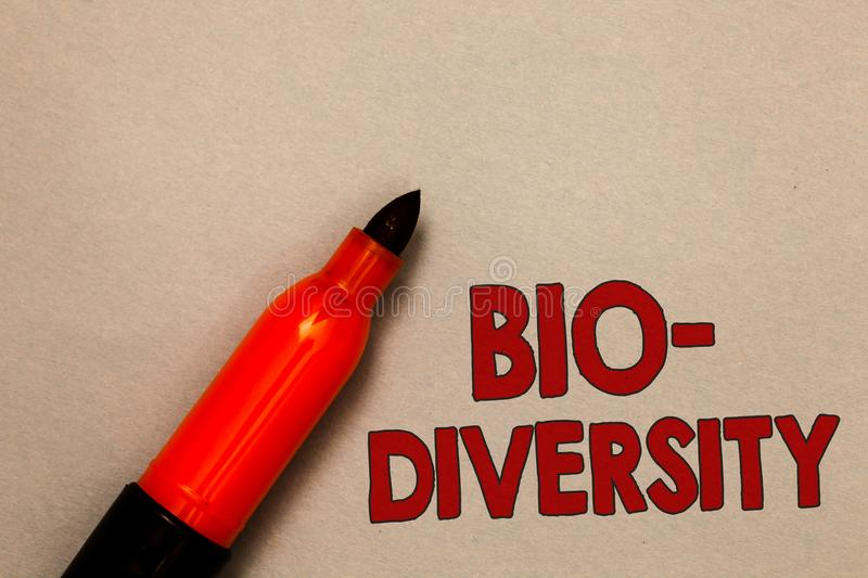 Word writing text Bio Diversity. Business concept for Variety of Life Organisms Marine Fauna Ecosystem Habitat Open red marker int. Ention communicating message stock photography