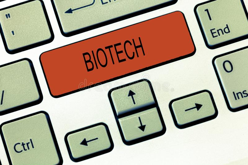 Word writing text Biotech. Business concept for Study Analysis biological processes Genetic manipulation Science.  stock image
