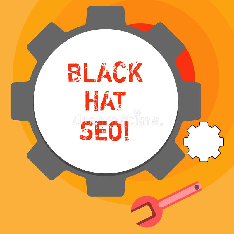 Word writing text Black Hat Seo. Business concept for Search Engine Optimization using techniques to cheat browsers. Word writing text Black Hat Seo. Business stock illustration